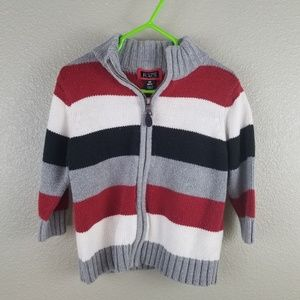 Children's Place Gray Red Black Striped Sweater